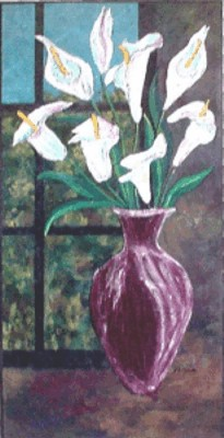 Calla Lillies in Maroon Vase