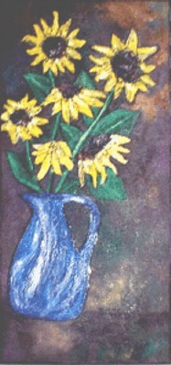Sunflowers in Blue Jug